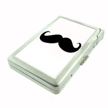 Silver Cigarette Case w/ Lighter 2nd Mustache D 07 Hipster Handlebar Facial Hair - $5.89