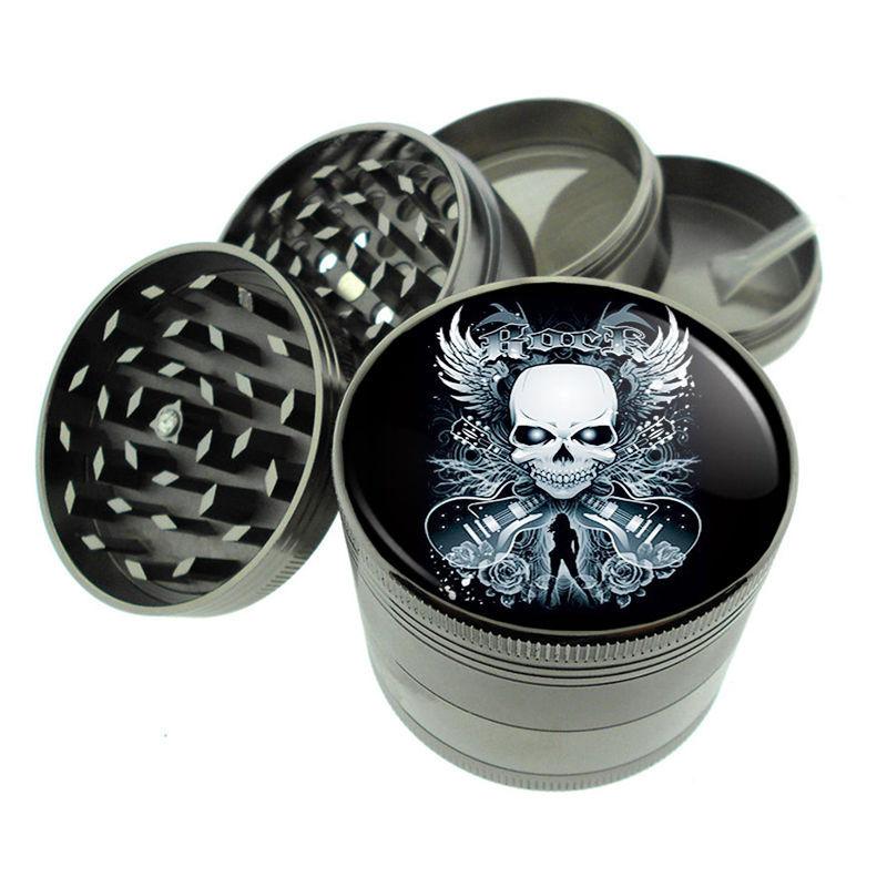 Skull D3 Titanium Grinder 4 Piece Magnetic Hand Mueller Herbs & Spices Death