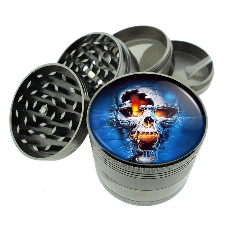 Skull D5 Titanium Grinder 4 Piece Magnetic Hand Mueller Herbs & Spices Death
