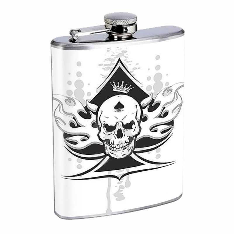 Skull Flask D100 8oz Stainless Steel Scary Horror Death Frightening