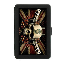 Skull Design 02 Black Cigarette Case Metal Holder Box - $7.09