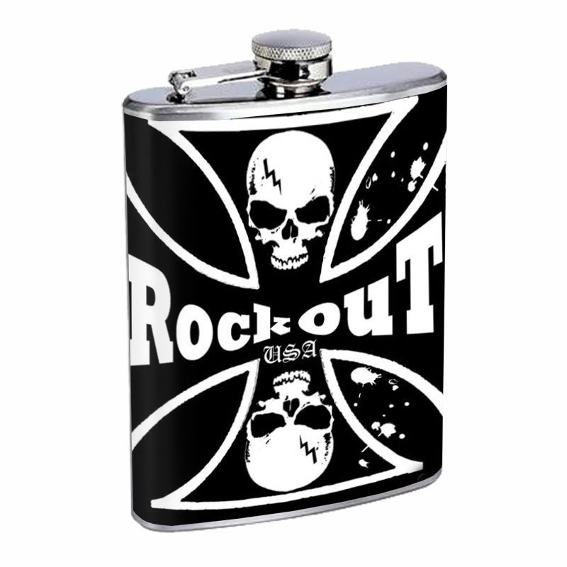 Skull Flask D94 8oz Stainless Steel Scary Horror Death Frightening