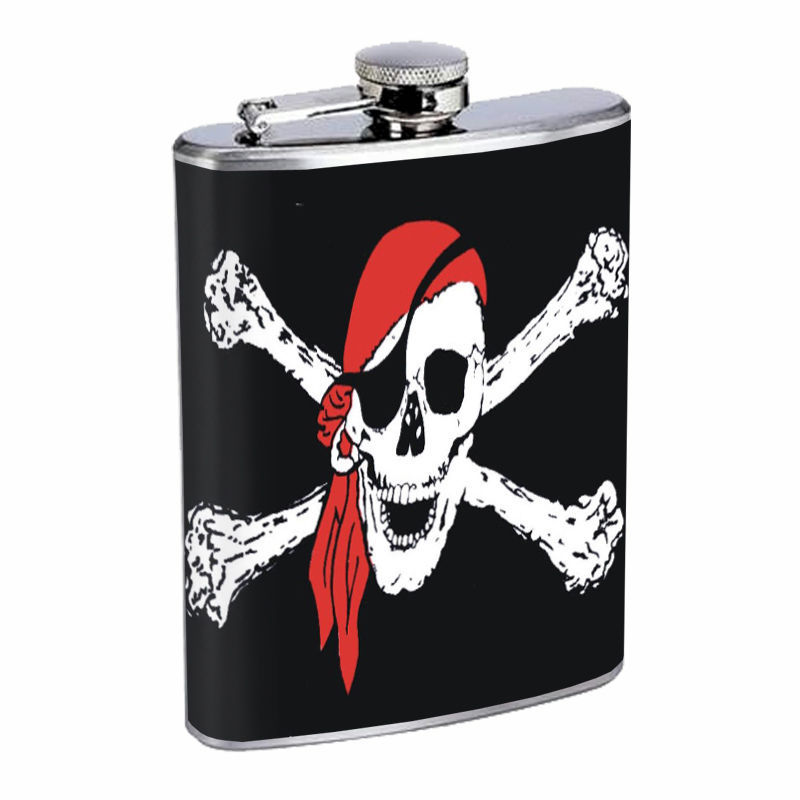 Skull Flask D93 8oz Stainless Steel Scary Horror Death Frightening