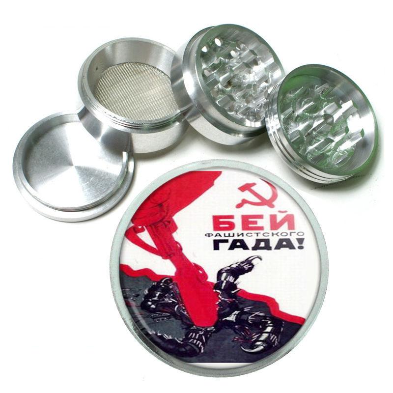 Smash Vile Fascist Russian Metal Silver Aluminum Grinder D149 63mm Herb Spice