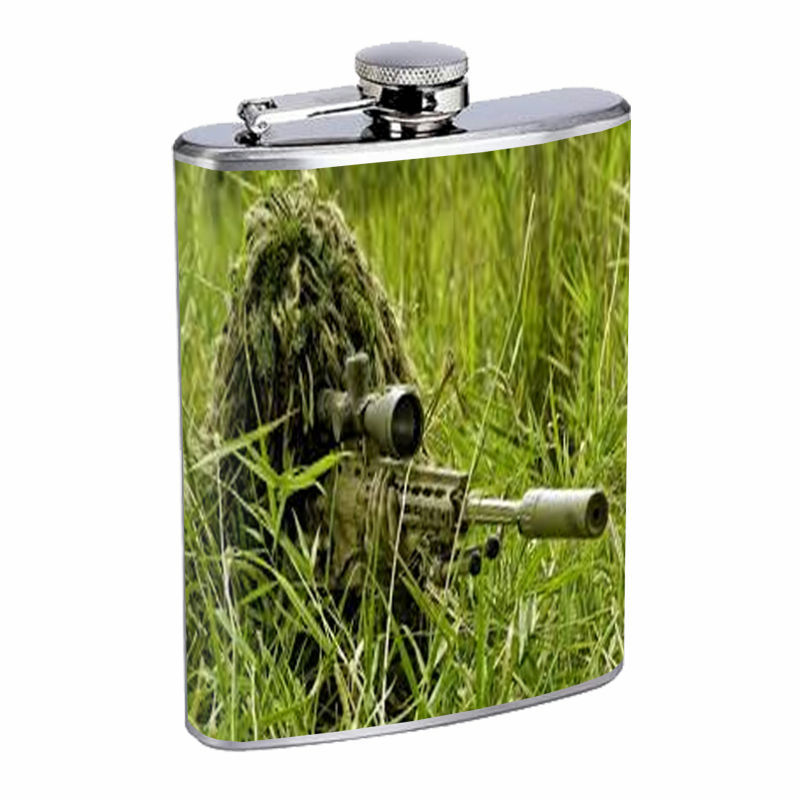 Sniper D3 Flask 8oz Stainless Steel Sharp Shooter Specialist Marksman Camouflage