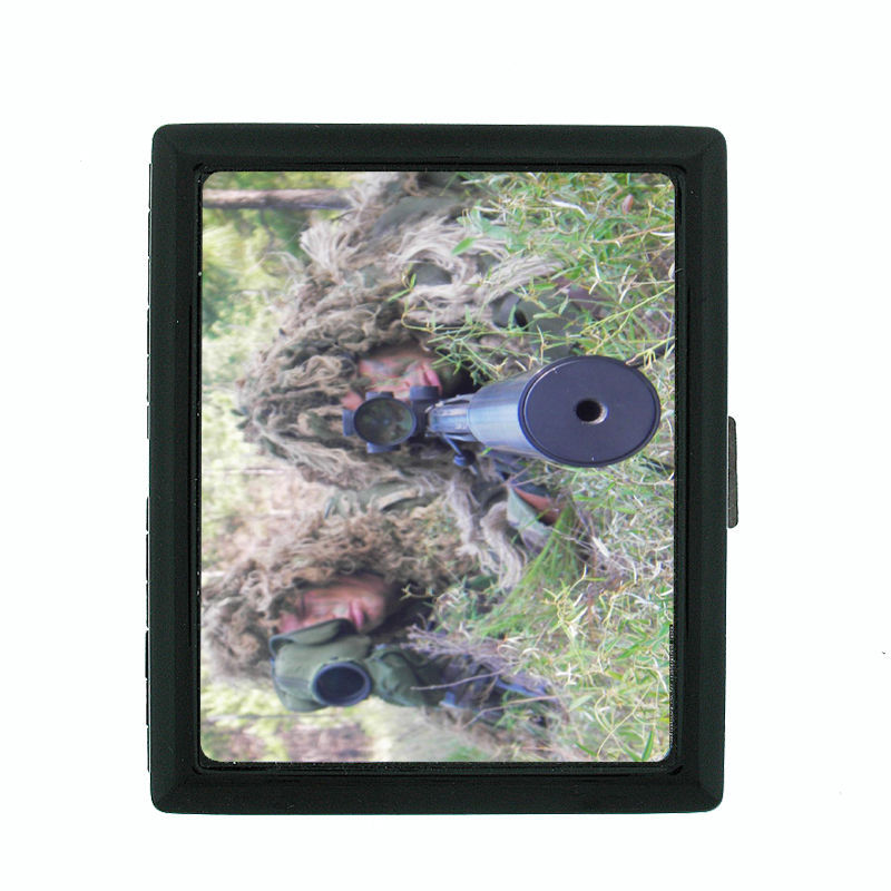 Sniper D8 Regular Black Cigarette Case / Metal Wallet Sharp Shooter Marksman