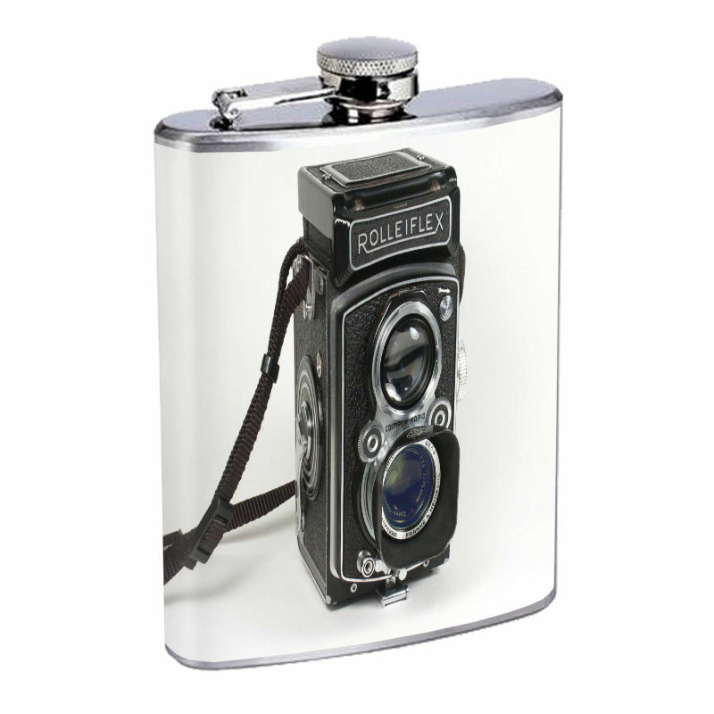 Stainless Steel Flask 8 oz Vintage Camera  Design Silver Drinking Whiskey