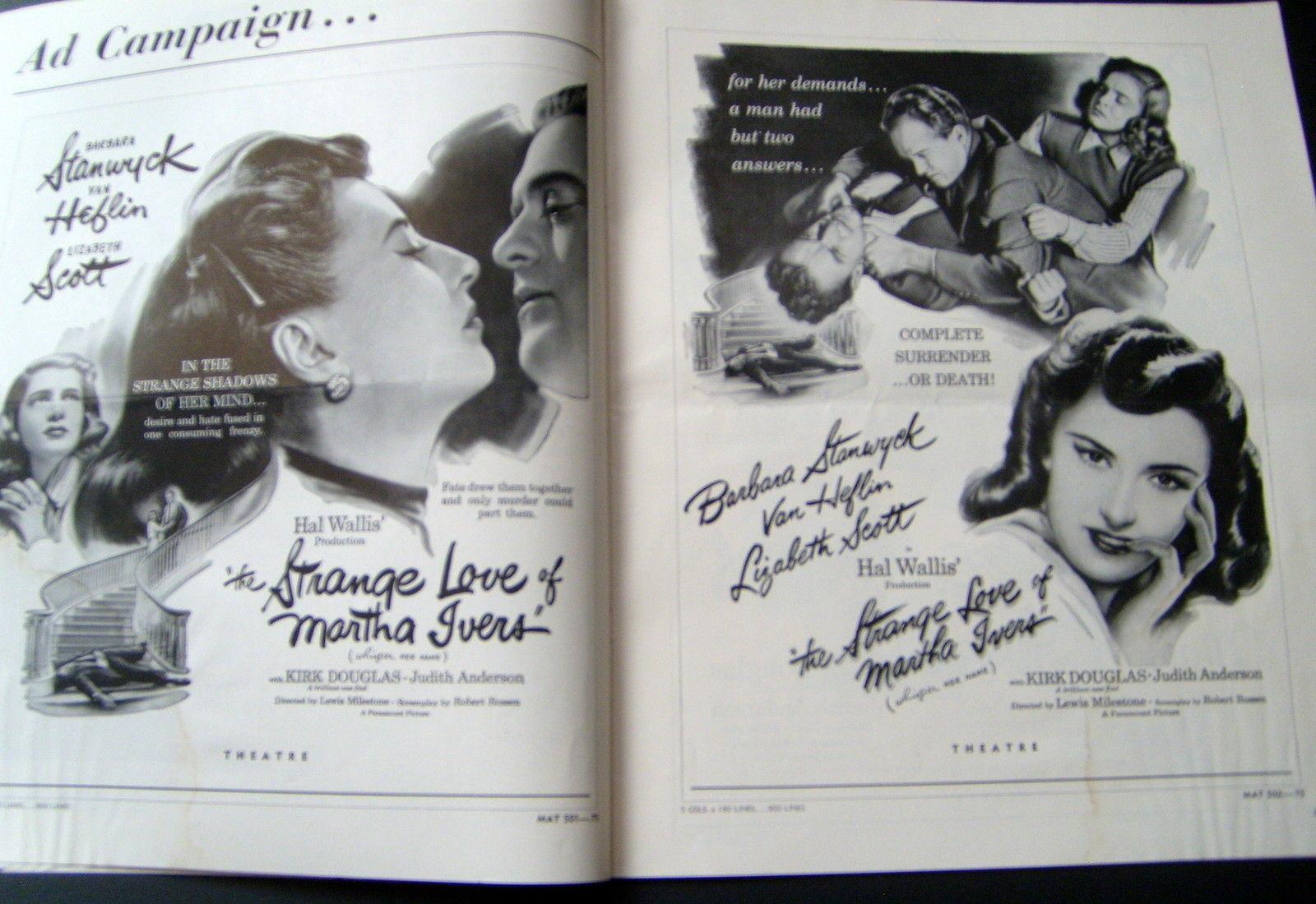 BARBARA STANWYCK,LIZABETH SCOTT (STRANGE LOVE OF MARTHA IVERS)BA MOVIE PRESSBOOK