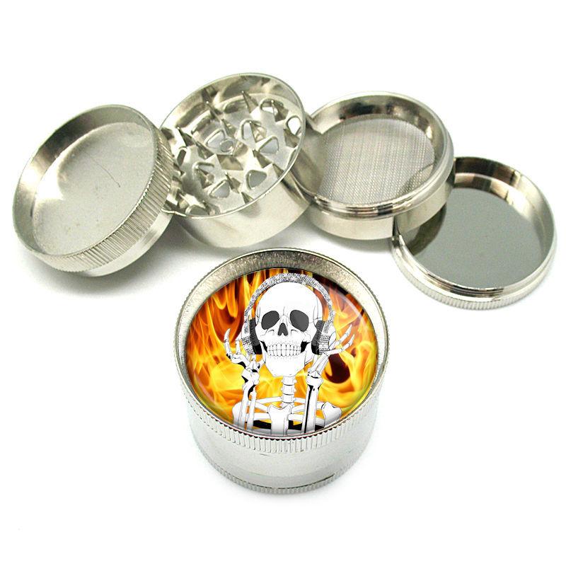 """Stylish Designer Metal Grinder 4PC 2"""" Skull Design-017"""