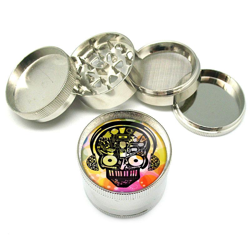 """Stylish Designer Metal Grinder 4PC 2"""" Skull Design-071"""