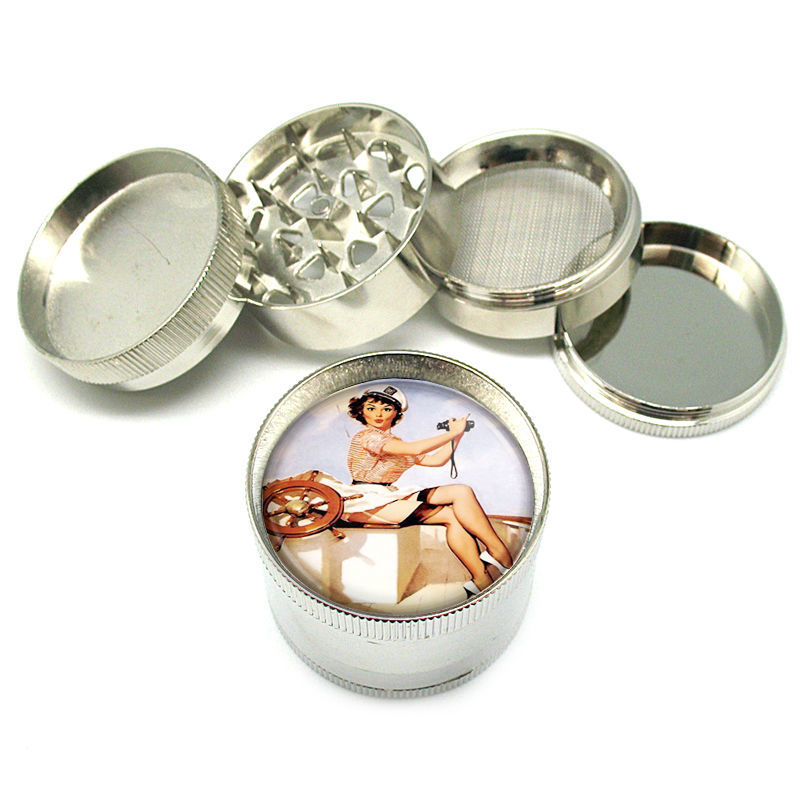"Stylish Designer Metal Grinder Heavy Duty 4 PC 2""  Steel Mesh Pin Up Girl D-064"
