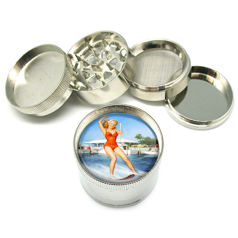 "Stylish Designer Metal Grinder Heavy Duty 4 PC 2""  Steel Mesh Pin Up Girl D-142"