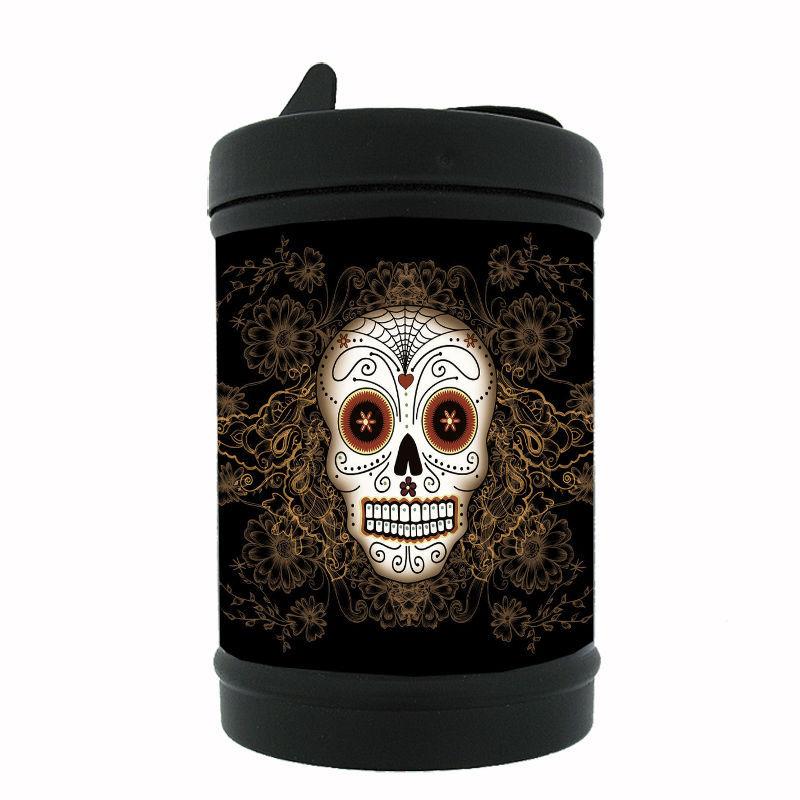 Sugar Skull Black Metal Car Ashtray D11 Day of the Dead Skeletons Folk Art