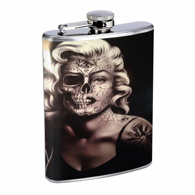 Sugar Skull D12 8oz Hip Flask Stainless Steel Day of the Dead Los Muertos Art