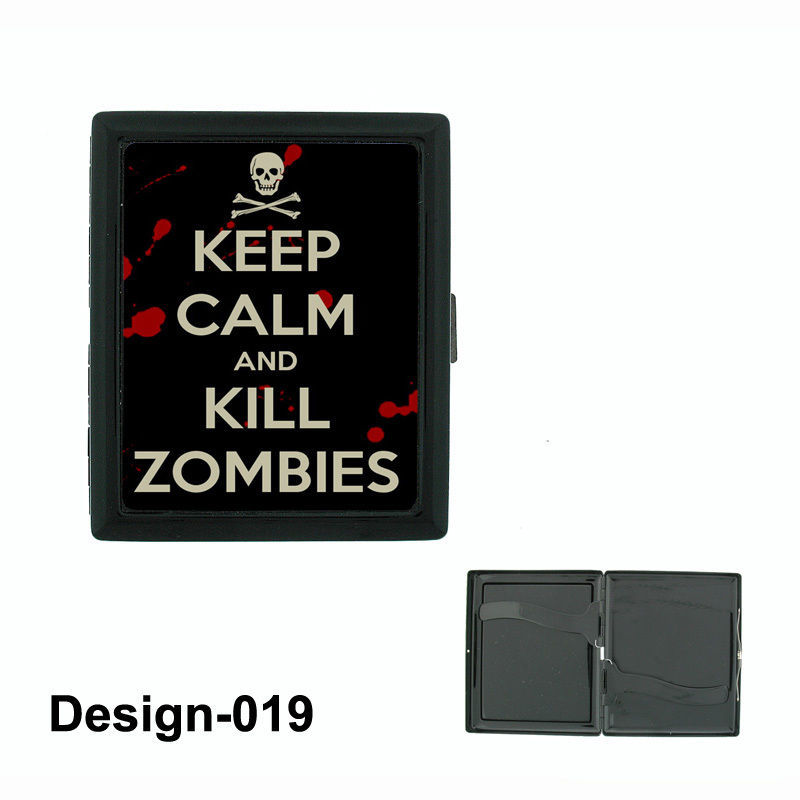 Sugar Skull D12 Regular Black Cigarette Case / Metal Wallet Day of the Dead