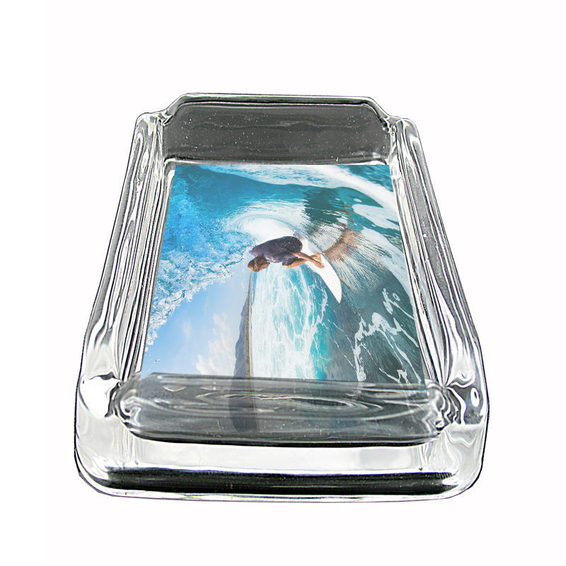 "Surfing Glass Ashtray D2 4""x3"" Hang Loose 10 Waves"