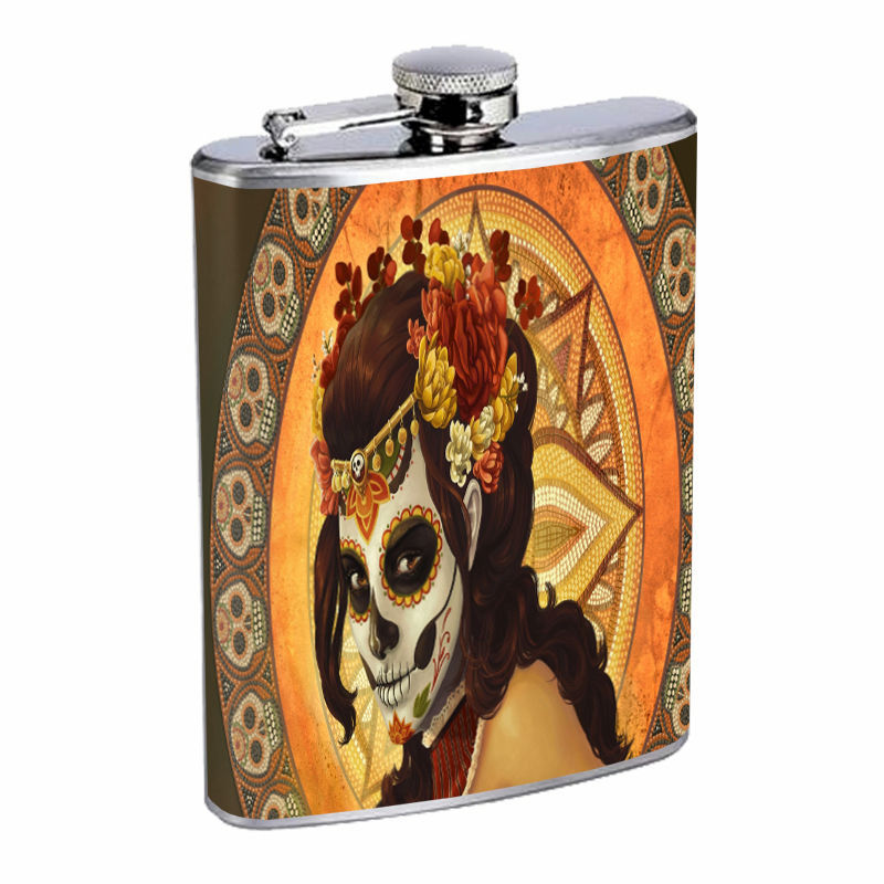 Sugar Skull D7 8oz Hip Flask Stainless Steel Day of the Dead Dia Los Muertos Art