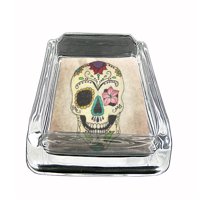 "Sugar Skull Glass Ashtray D10 4""x3"" Day of the Dead Skeletons Folk Art"