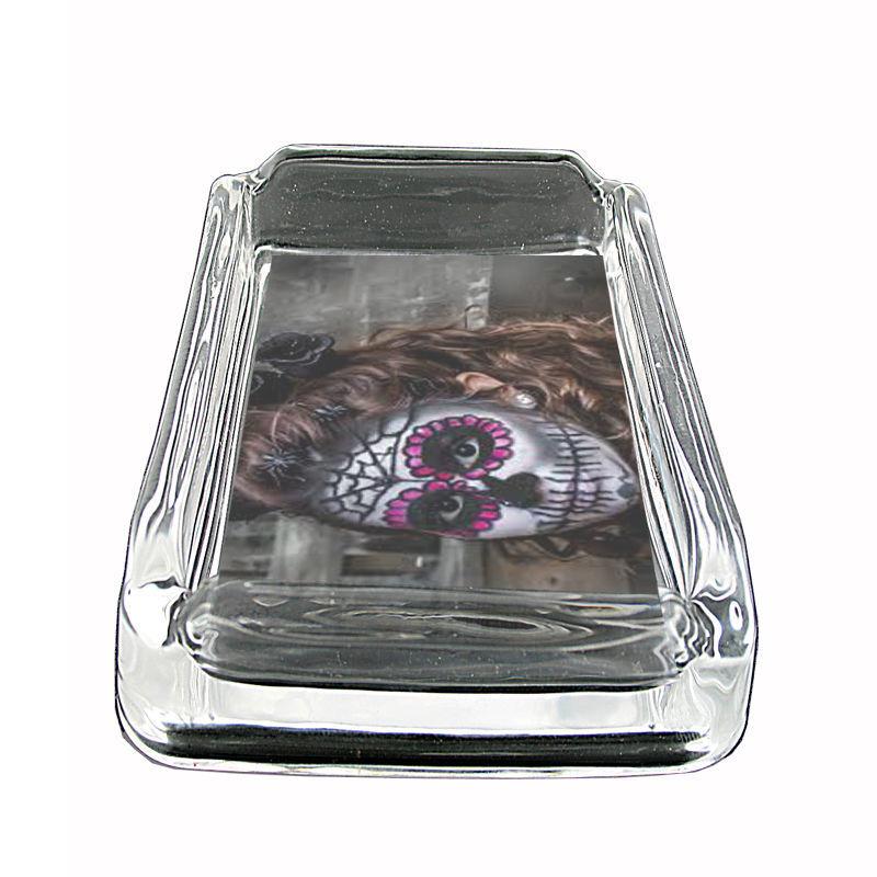 """Sugar Skull Glass Ashtray D5 4""""x3"""" Day of the Dead Skeletons Folk Art"""