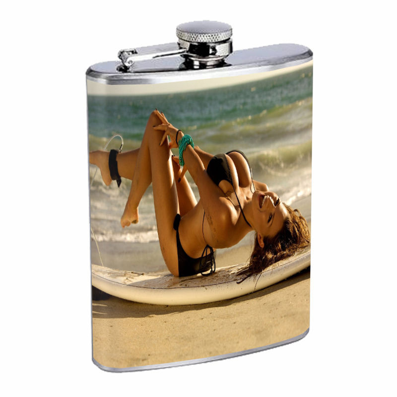 Surfing D10 Flask 8oz Stainless Steel Surf Board Riding Waves Ocean Hanging 10