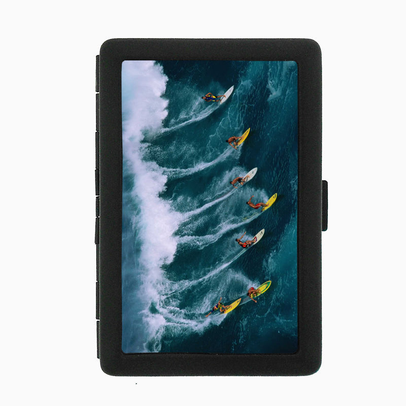 Surfing D3 Black Cigarette Case / Metal Wallet Hang Loose 10 Waves