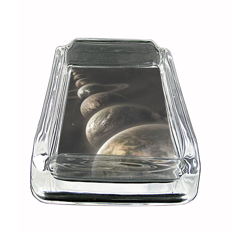 "Tiime Travel Glass Ashtray D8 4""x3"" Time Machine Quantum Space"
