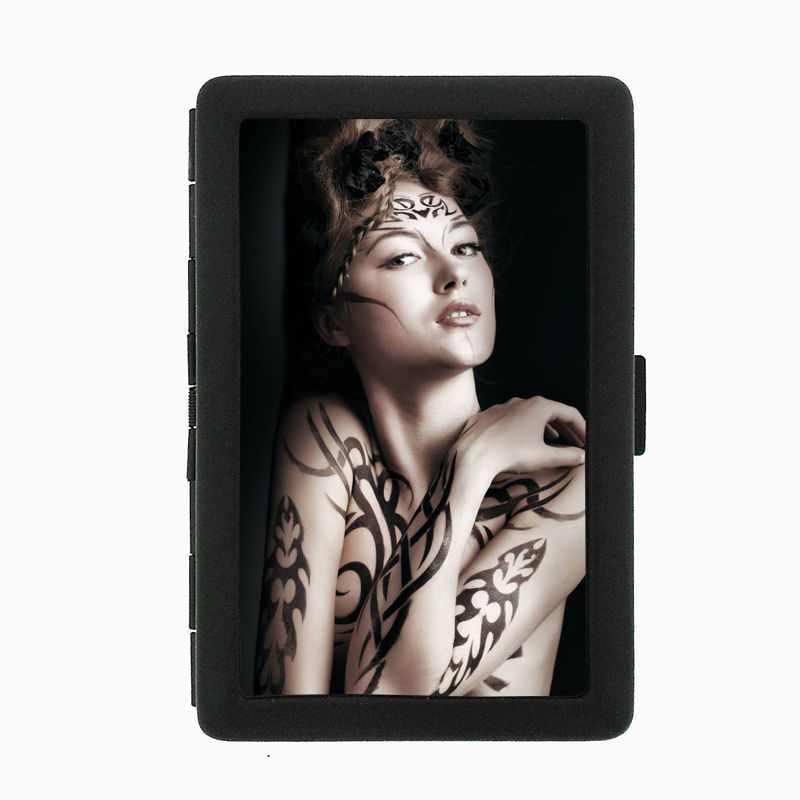 Tattoo D6 Black Cigarette Case / Metal Wallet Skin Body Art Ink Tat