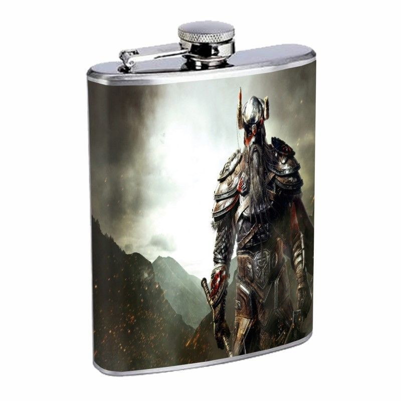 Vikings Flask D3 8oz Stainless Steel Scandinavia Mediaeval Middle Ages Warrirors