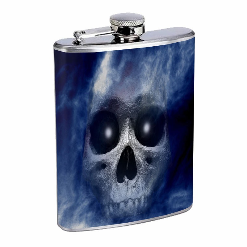 The Reaper Flask D3 8 oz Stainless Steel Scary Horror Skull Death Frightening