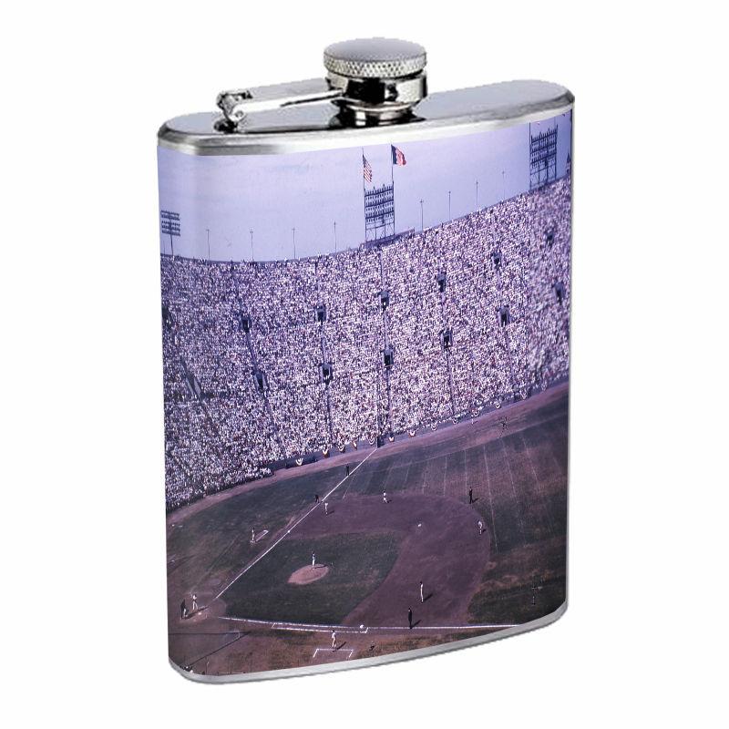 Vintage Baseball Stadium D10 8oz Hip Flask Stainless Steel Retro Legendary