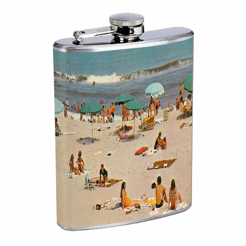 Vintage Beach Silver Hip Flask D8 8oz Stainless Steel Old Fashioned Retro