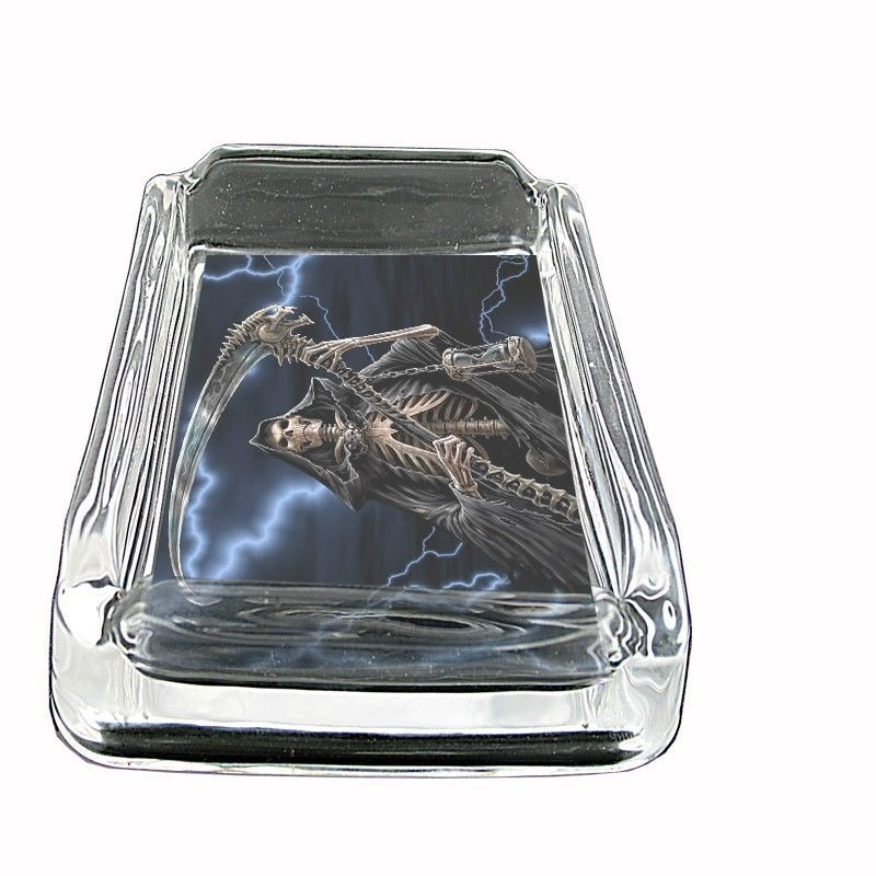"The Reaper Glass Ashtray D2 4""x3"" Scary Horror Death Frightening"