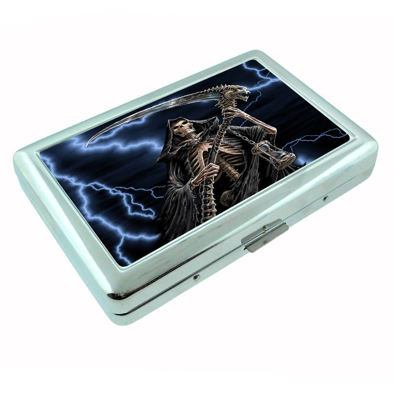 The Reaper Metal Silver Cigarette Case D2 Scary Horror Death Frightening
