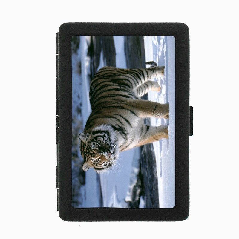 Tiger Black Cigarette Case D1 Metal Wallet Wildlife Zoo Bengal Cat Wild Animal
