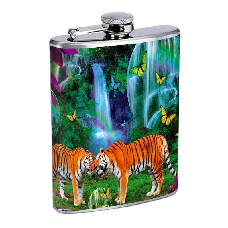 Tiger Flask D6 8oz Stainless Steel Wildlife Zoo Bengal Cat Wild Animal