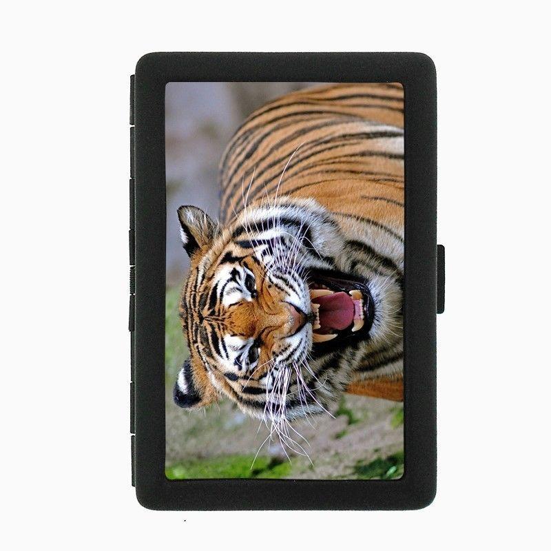 Tiger Black Cigarette Case D3 Metal Wallet Wildlife Zoo Bengal Cat Wild Animal