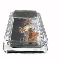 "Tiger Glass Ashtray D8 4""x3"" Wildlife Zoo Bengal Cat Wild Animal - $14.95"