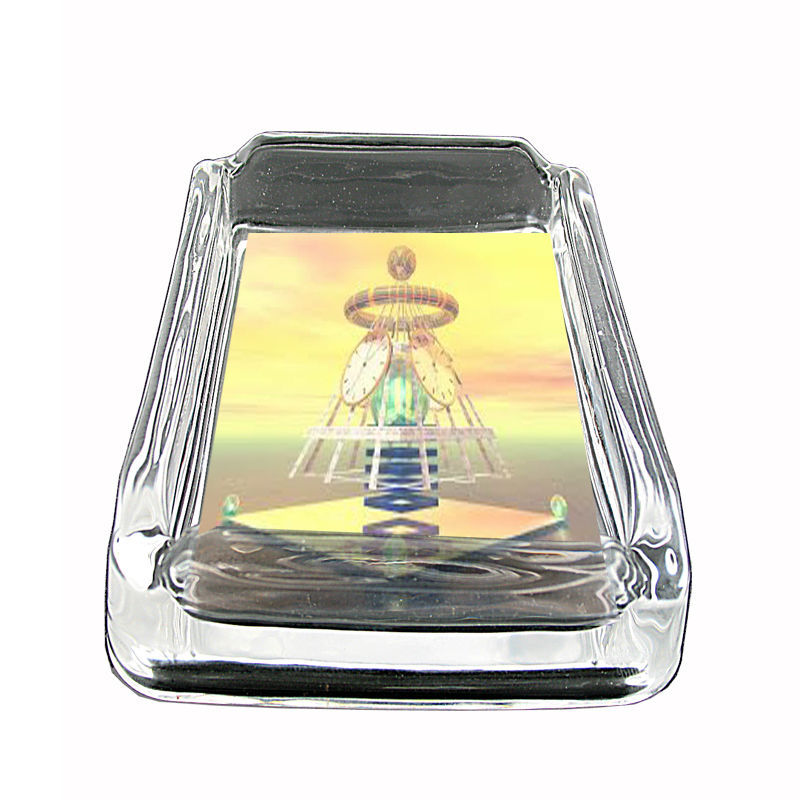 "Tiime Travel Glass Ashtray D4 4""x3"" Time Machine Quantum Space"
