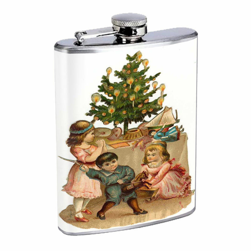 Vintage Christmas Hip Flask D3 8oz Stainless Steel Santa Claus Snowman Tree