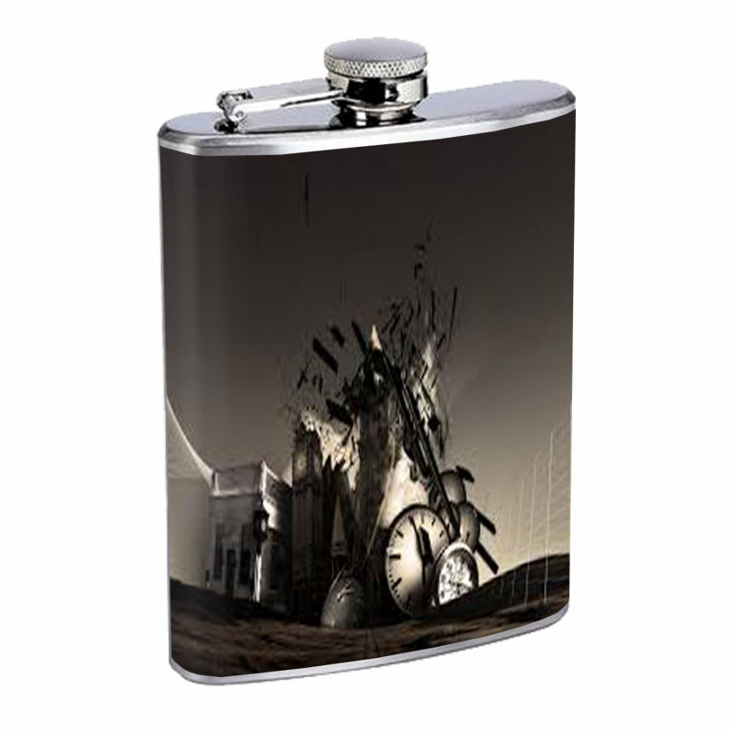 Time Travel Flask D10 8oz Stainless Steel Space Time Machine Quantum Paradoxes