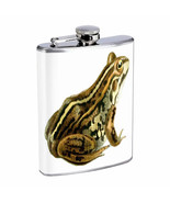 Vintage Frogs Hip Flask D10 8oz Stainless Steel Old Fashioned Retro - $10.26