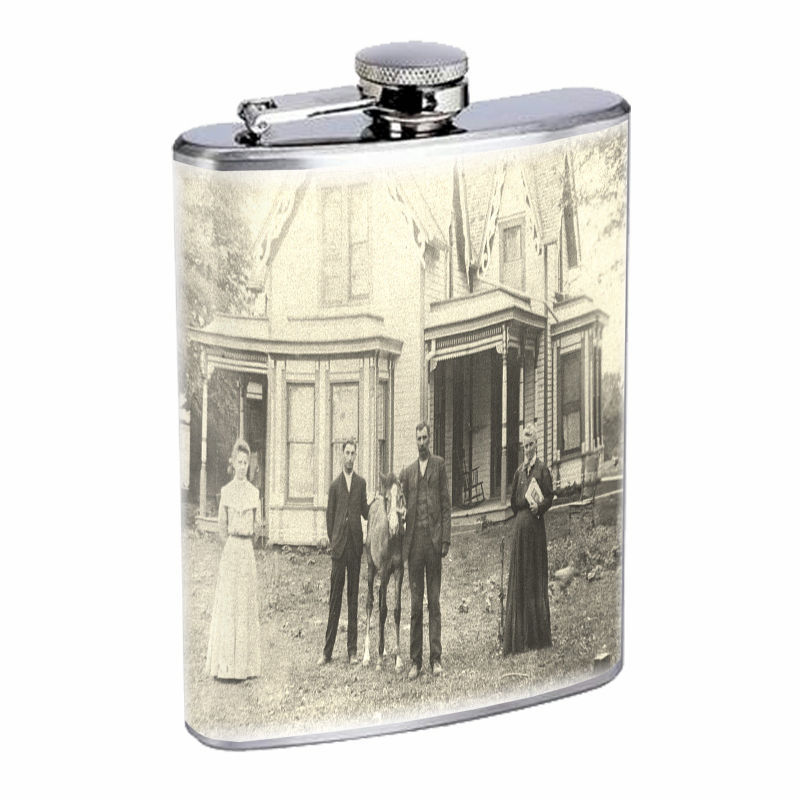 Vintage Farm Girl D13 8oz Hip Flask Stainless Steel Sexy Country Girl Hot Babe