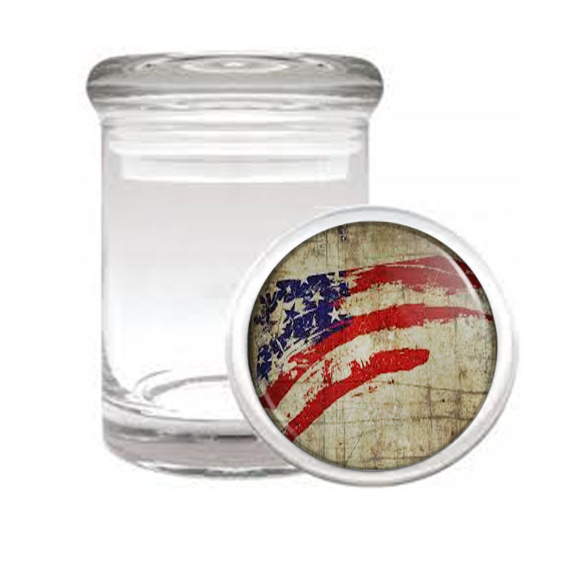 VINTAGE AMERICAN FLAG D2 ODORLESS AIR TIGHT MEDICAL GLASS JAR CONTAINER USA