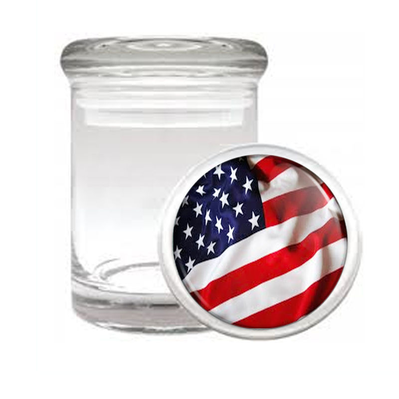 VINTAGE AMERICAN FLAG D4 ODORLESS AIR TIGHT MEDICAL GLASS JAR CONTAINER USA