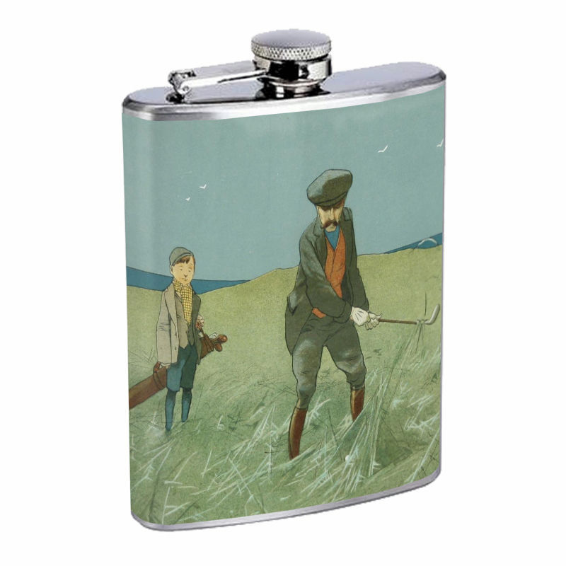 Vintage Golf D11 8oz Hip Flask Stainless Steel Sports Pro Golfer Hobby