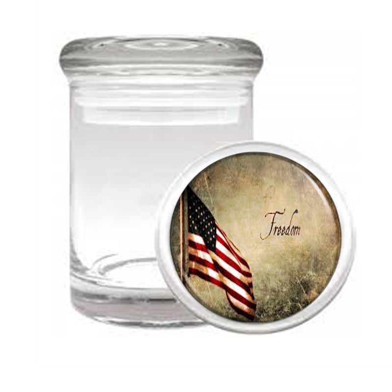 VINTAGE AMERICAN FLAG D6 ODORLESS AIR TIGHT MEDICAL GLASS JAR CONTAINER USA