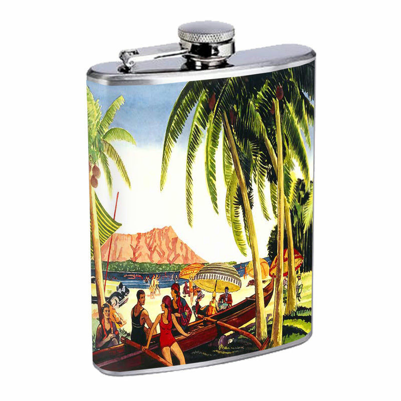 Vintage Hawaiian Art Hip Flask D8 8oz Stainless Steel Old Fashioned Retro