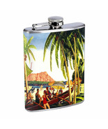 Vintage Hawaiian Art Hip Flask D8 8oz Stainless... - $10.26
