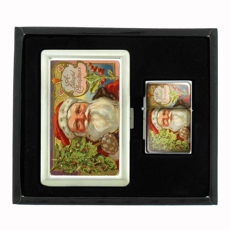 VINTAGE CHRISTMAS D1 CIGARETTE CASE / WALLET & LIGHTER GIFT SET OLD FASHIONED
