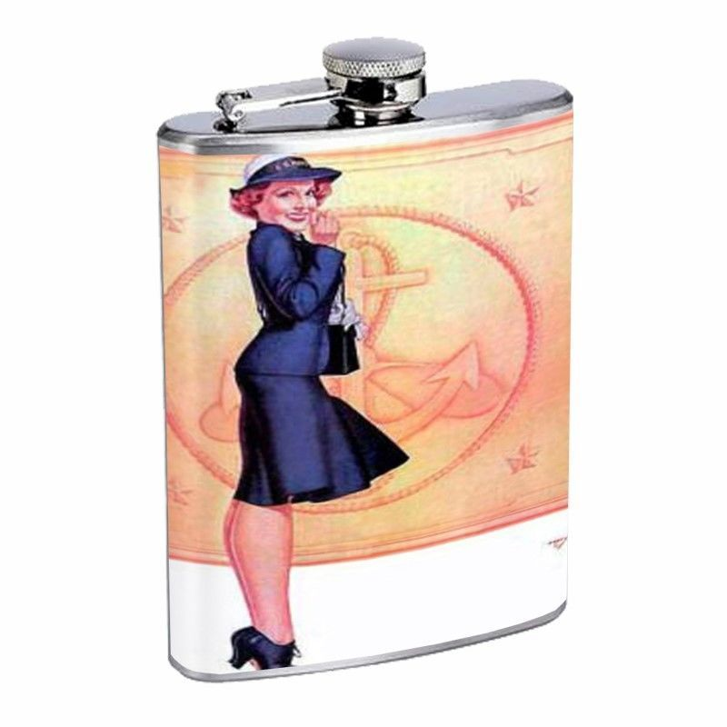 Vintage Navy Sailor Pretty Girl Pin Up Flask D73 8oz Stainless Steel Navy Dress